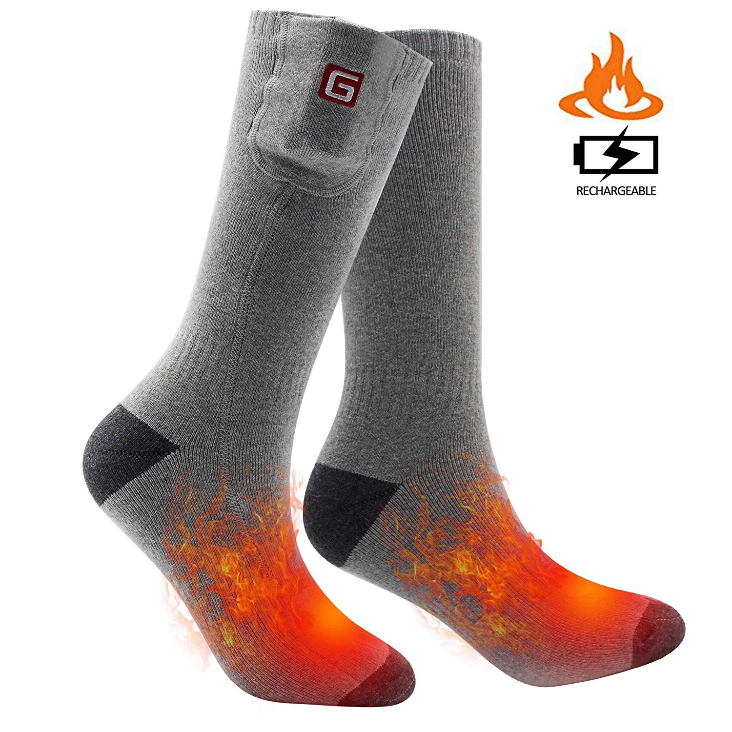 fe8a5538b Get Quotations · SVPRO Rechargeable Electric Battery Heated Socks Cold  Weather Thermal Socks Sport Outdoor Warm Winter Socks Men