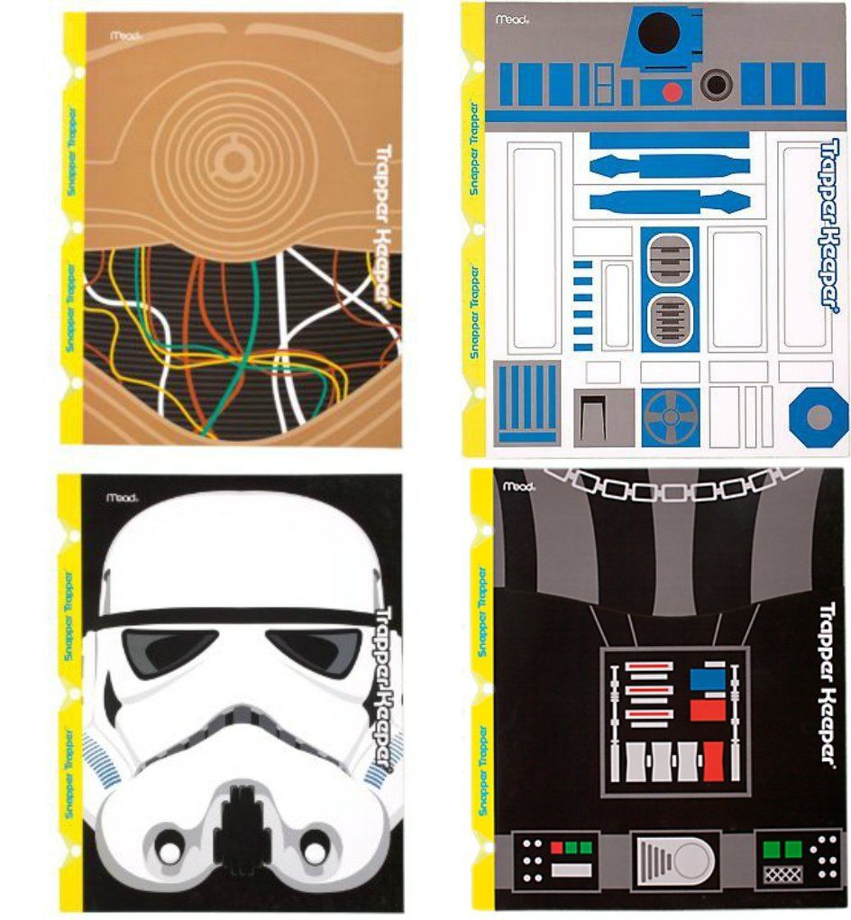 Mead Star Wars Trapper Keeper Snapper Trapper 2 Pocket & Prong Portfolio Folders Darth Vader C-3PO Lot of 4 Bundle
