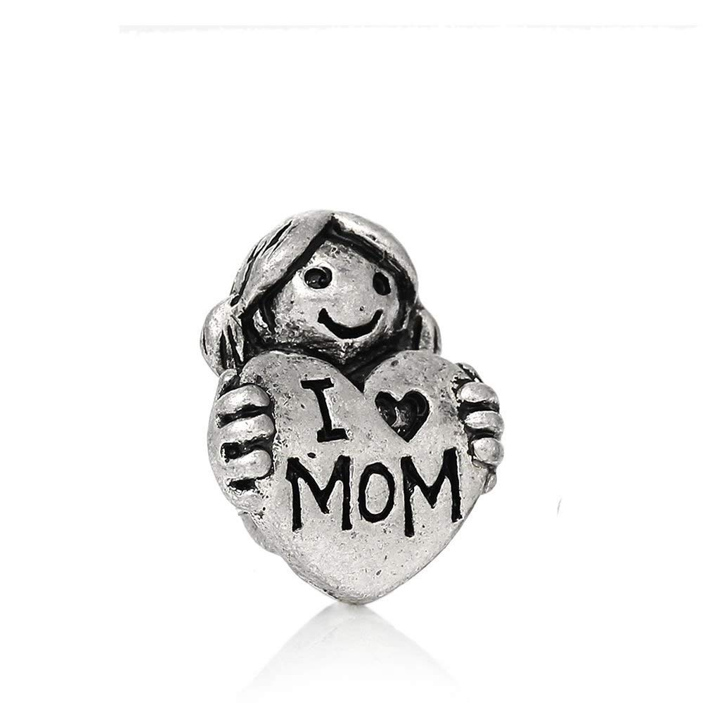 """Girl Holding I Love Mom Heart"" Charm Bead Spacer Compatible for Most European Snake Chain Bracelets"