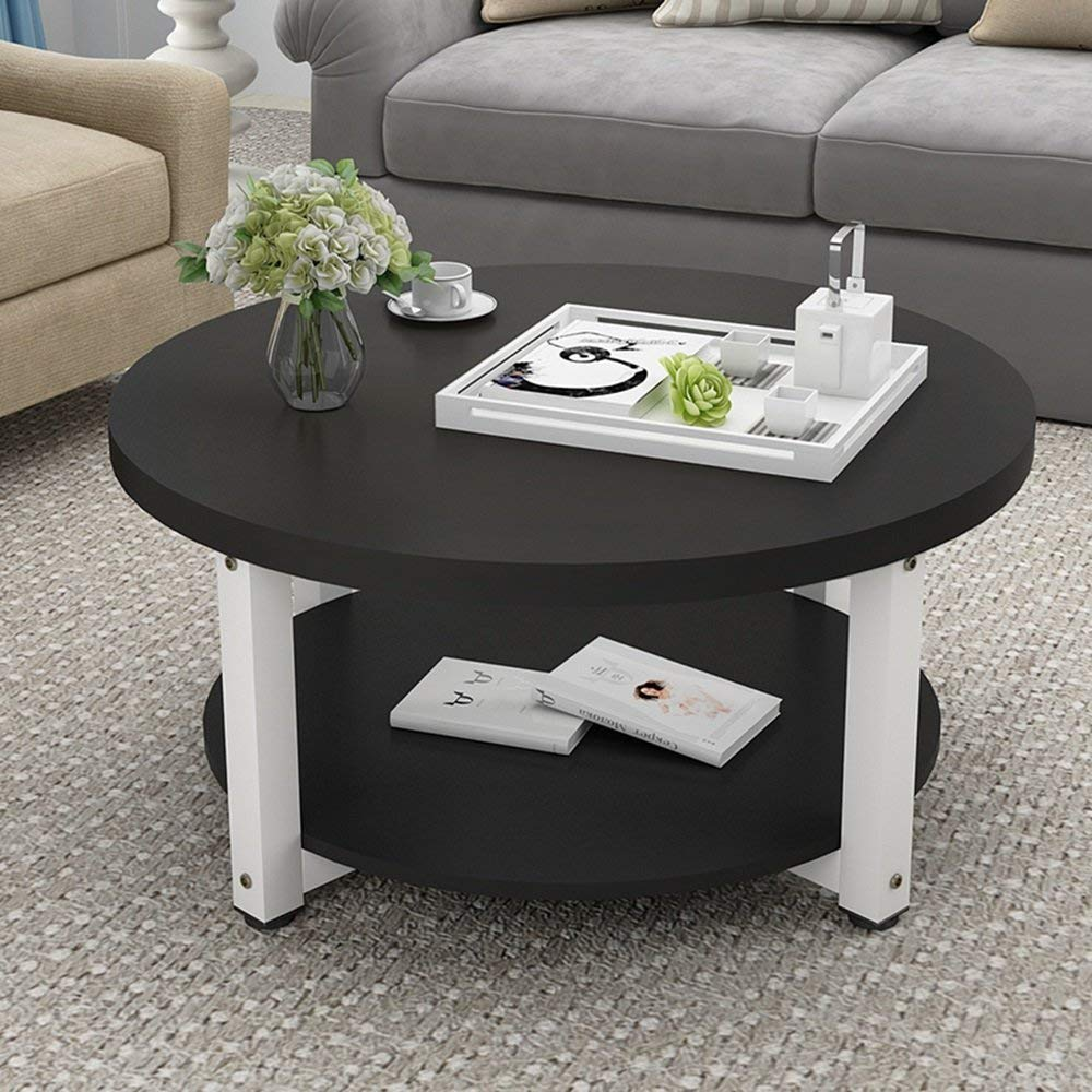 CAICOLOUR Coffee Table, Low Table, Simple Living Room, Small Coffee Table-504530cm (Color : Black+White)