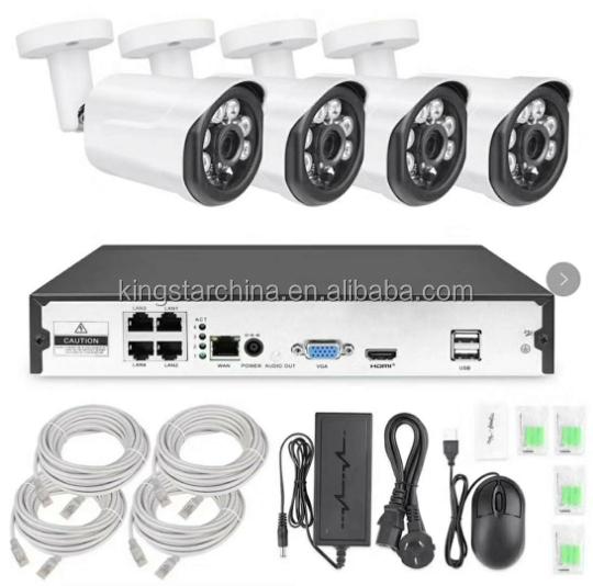 H.265 4CH CCTV NVR Kiti 1080 P P2P POE IP Kamera Açık Güvenlik Kamera Sistemi Üreticisi