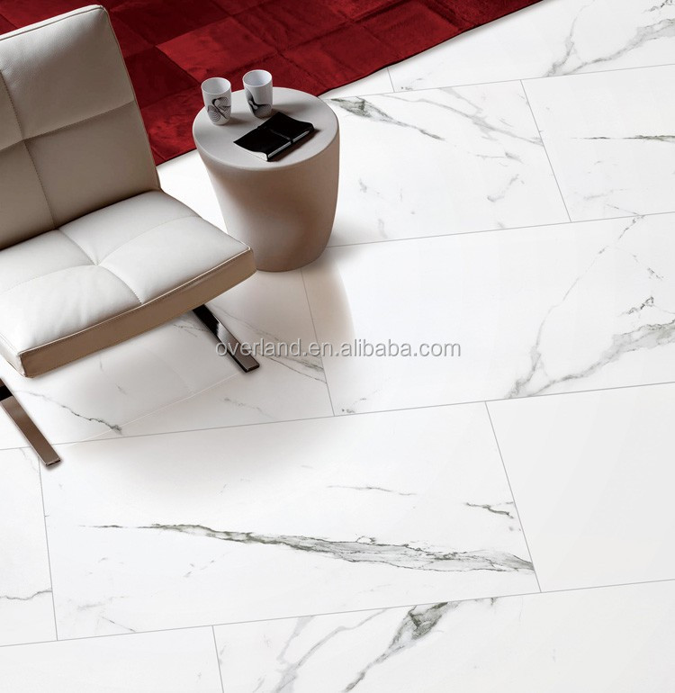 Polished porcelain tile look like carrara marble