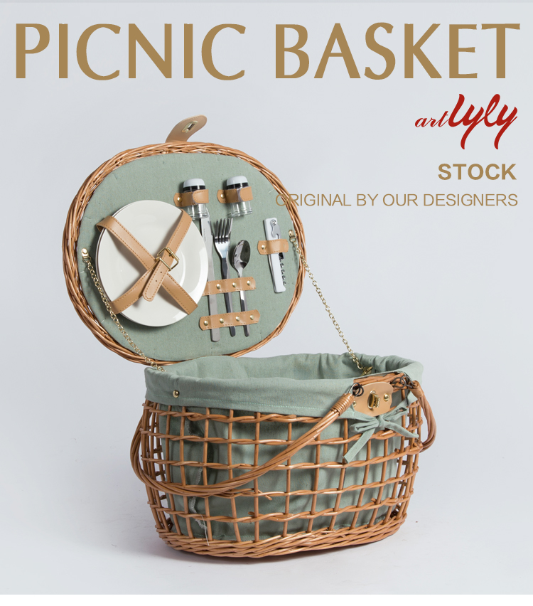 Willow wicker storage food bread picnic basket with handle lid
