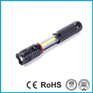 Rubber Feel Warm Flashlight with Magnetic Base 200LM 2 IN 1 Portable Work Light