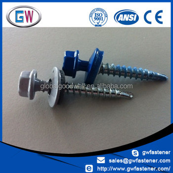 Powder Coated Zinc Plate Hex Washer Head Roof Screw Buy