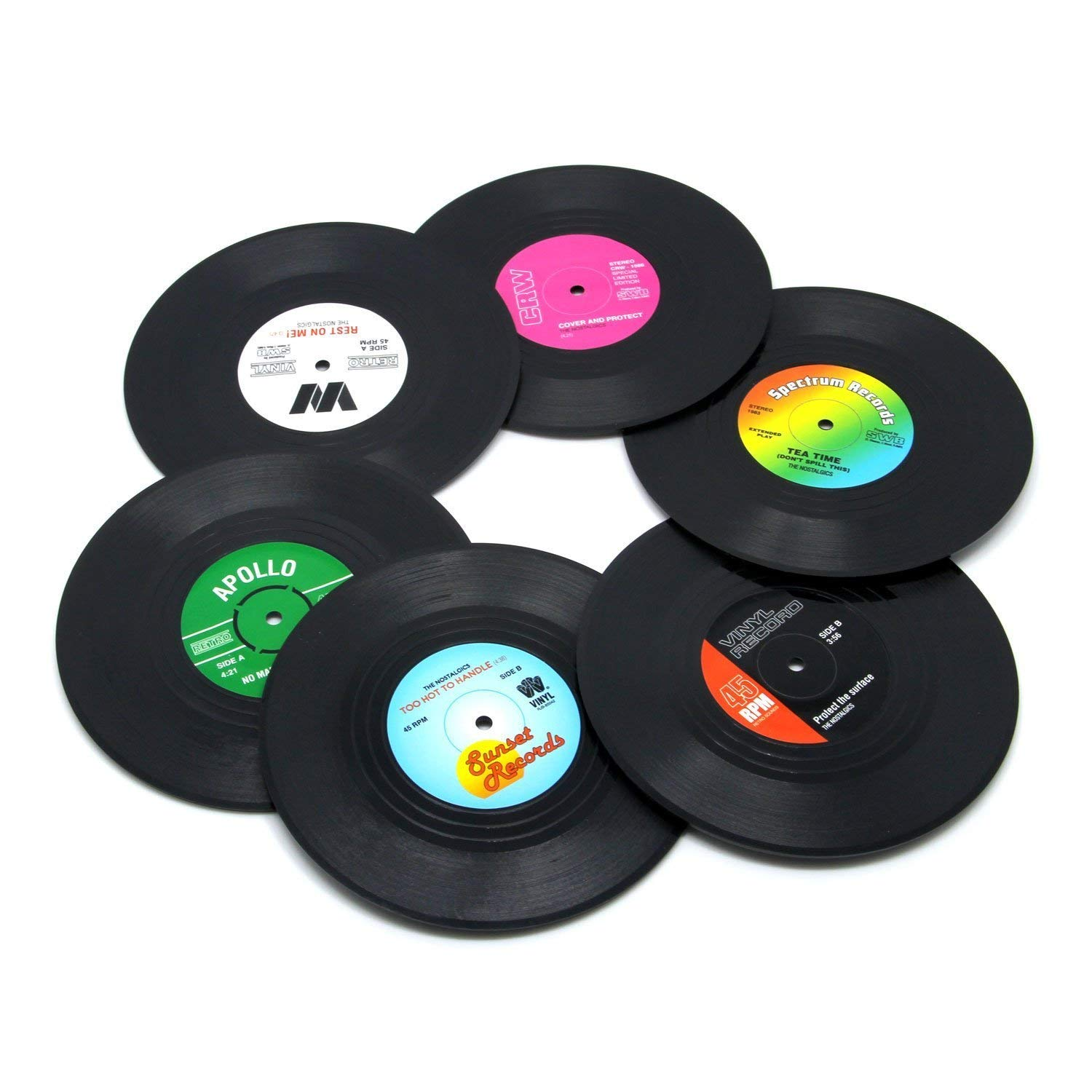 Coaster Set of 6 Colorful Vinyl Record Disk Coasters With Funny Labels-Tabletop Protection Prevents Furniture Damage (Record Disk)