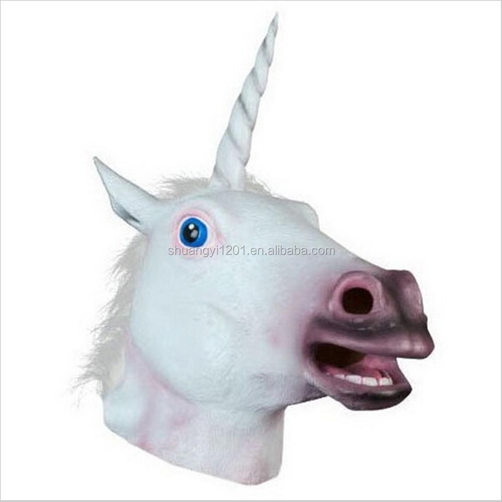 Latex Full Head Animals Horses Zebra Unicorn Carnival Fancy Dress Carnival Masks