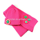 HZM-13316 lovely high quality knitting embroider patterns hat scarf and mitten set