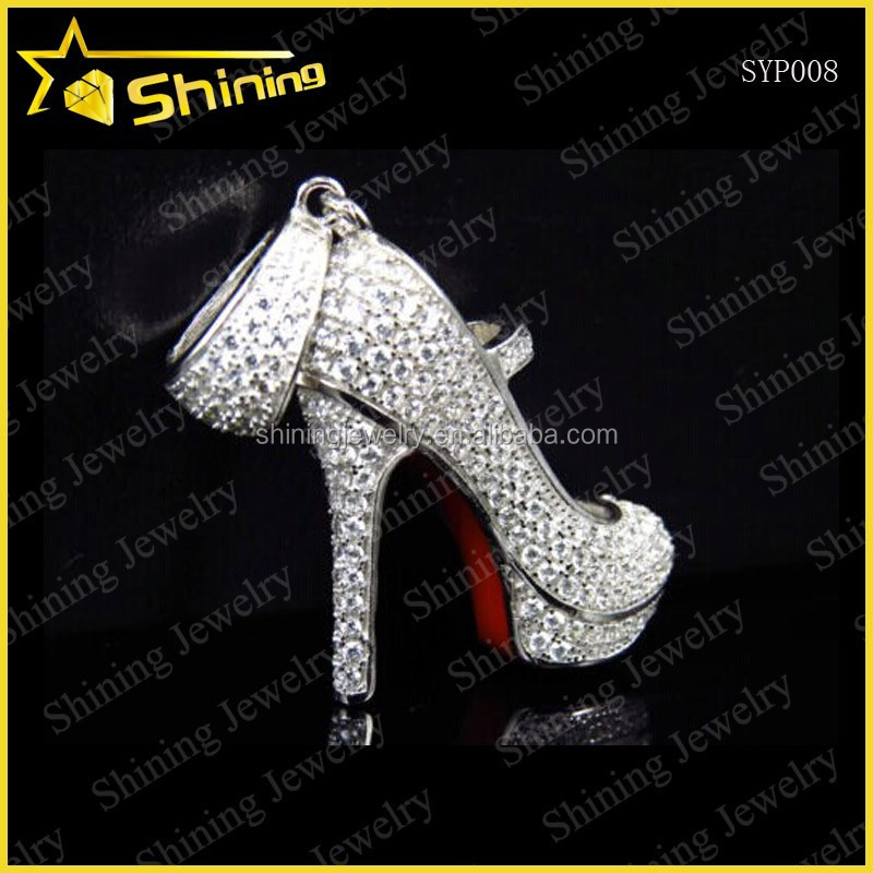 Fashionable 925 Sterling Silver CZ Iced Out Rhodum Plating High Heel Shoe Pendant