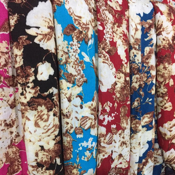 Shaoxing factory sale flower design plain rayon printed fabric to Indonesia,Egpty, Nepal