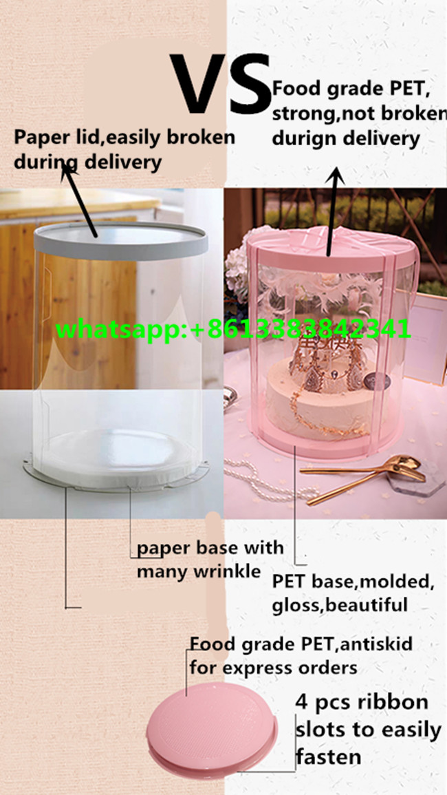 New 44cm height round clear plastic heavy cake box