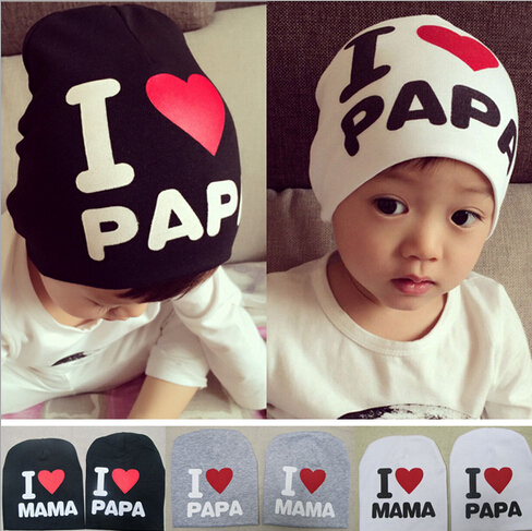 ba3af3e5df7 2015 Lovely Letters I Love Mama I Love Papa Baby Hat Kids Girl Boy Cap  Knitted Warm Cotton Toddler Beanie Freeshipping