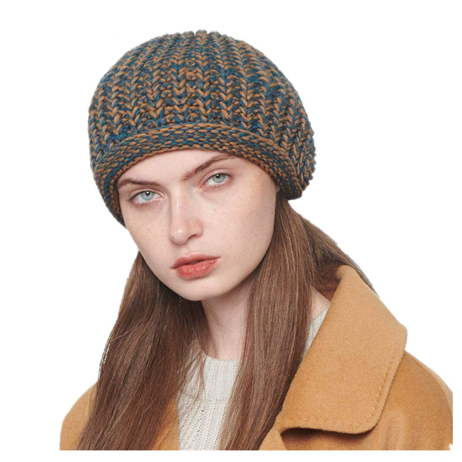 295b1c9f6fb Get Quotations · Globalwells Women Winter Knitted Beret Cap Newsboy Flat hat  Beanie Slouchy Baggy Skull Cap