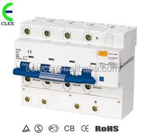 RCBO(Electronic Type)MCB add-on 63 80 100a 4P(3P+N) RCCB residual current circuit breakers with Overcurrent Protection
