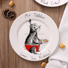Wholesale customized restaurant ceramic cartoon cake plates for kids colorful animal dish for restaurant