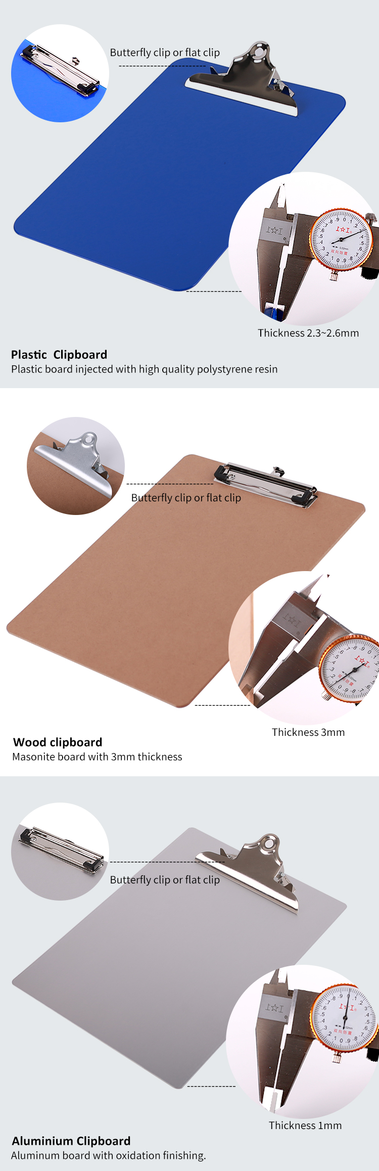 Office Stationery Environmental Brown  Wood A4/mdf Clip Board Mdf Wooden A4 6PK Clipboard