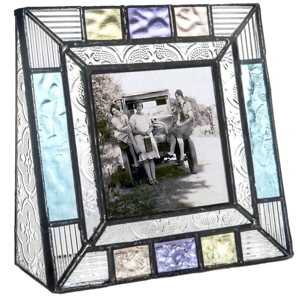 J Devlin Pic 372 Colorful Stained Glass Picture Frame Tabletop 3 x 3 Square Photo Frame Blue Peach Purple Home Decor
