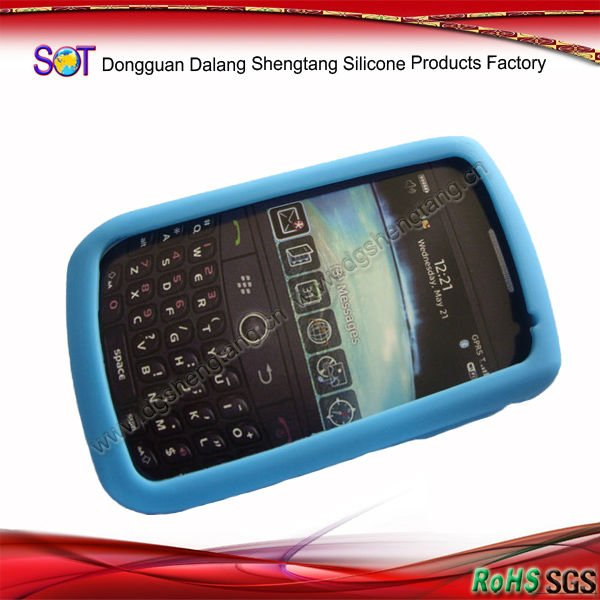 Cheap Blue Silicone Mobile Phone Case for Blackberry 9000