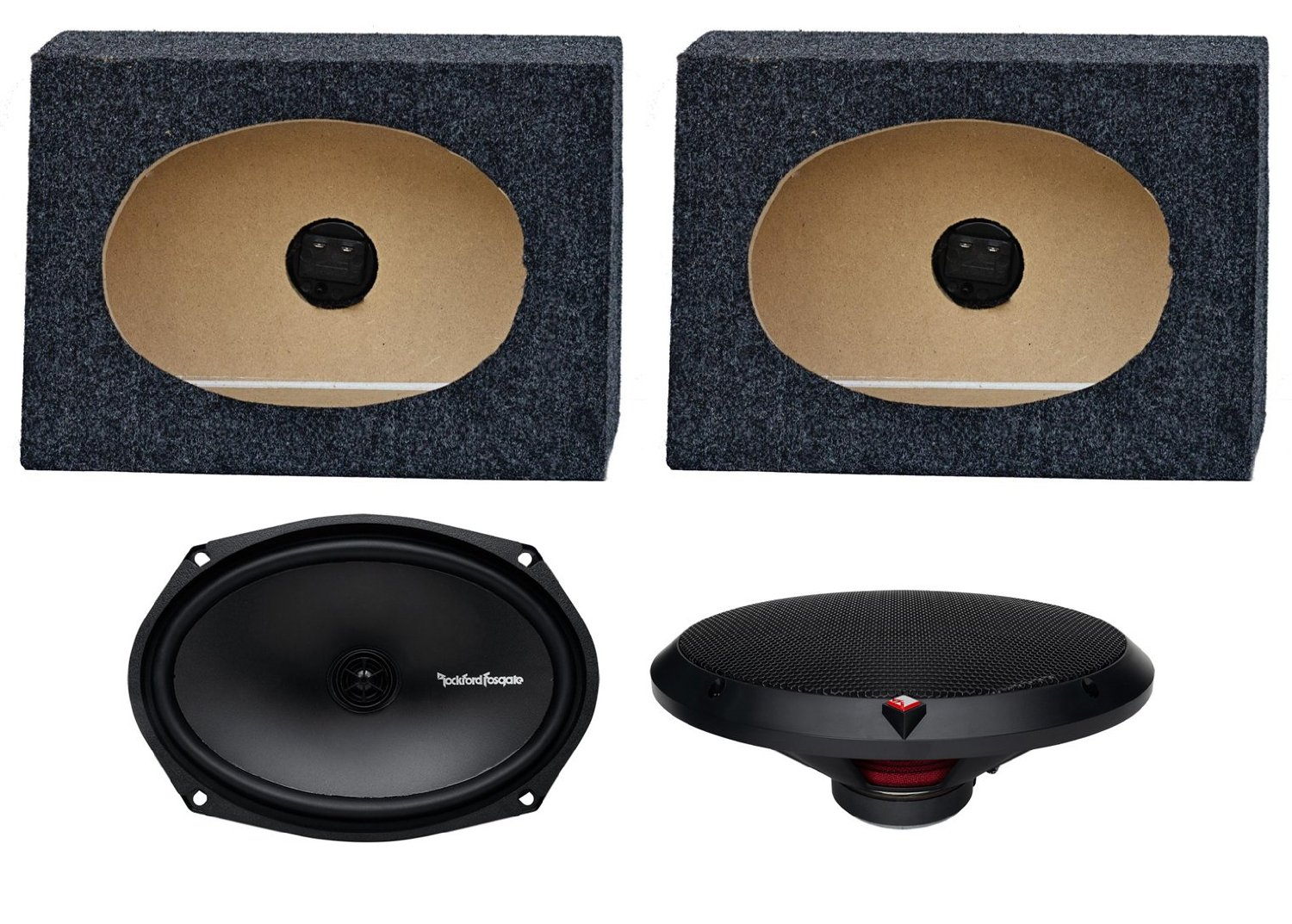 "2) Rockford Fosgate R169X2 6x9"" 130W Car Speakers + 2) Angled 6x9"" Speaker Box"