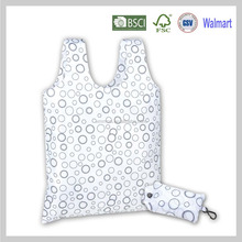 Reusable Washable Eco Shopper Foldable Folded Tote Shopping Grocery Easy Carry Promotional Polyester Folding Bag