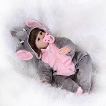 New 42CM baby reborn bonecas silicone reborn babies with cute clothes girls toys birthday gift