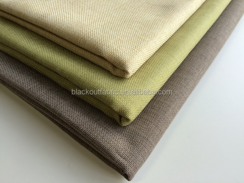 Linen look Sun Shading 3 Pass Blackout Fabric for Home Curtain Fabrics