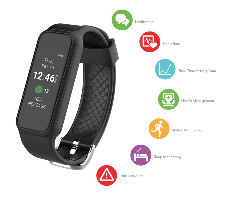 2017 APPSCOMM Smart Watch Touch Screen L38I Bluetooth Smart Bracelet Heart Rate Monitor for sale