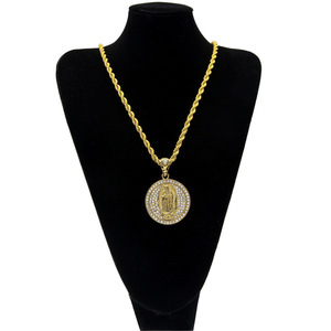 Jewelry 18 k gold plated with CZ stone Virgin Mary theme pendant theme pendant Hip hop necklace pendant for men's