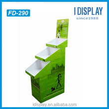 Green cardboard 3-tier floor basket stand display for master dog food in the supermarket