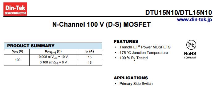 Voltage regulator circuit 100V nmos DTU15N10 inverter mosfet, View inverter  circuit mosfet, Din-Tek semiconductor Product Details from Shenzhen