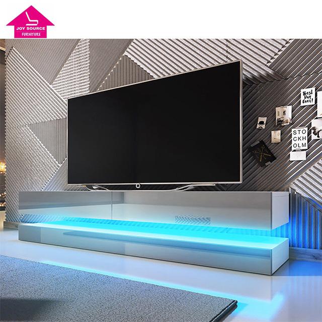 Modern Led Light Tv Cabinet Wooden Media Table Design In Living Room Product On