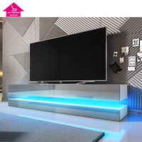 Modern led Light TV Cabinet Wooden TV Media Table Design in Living Room