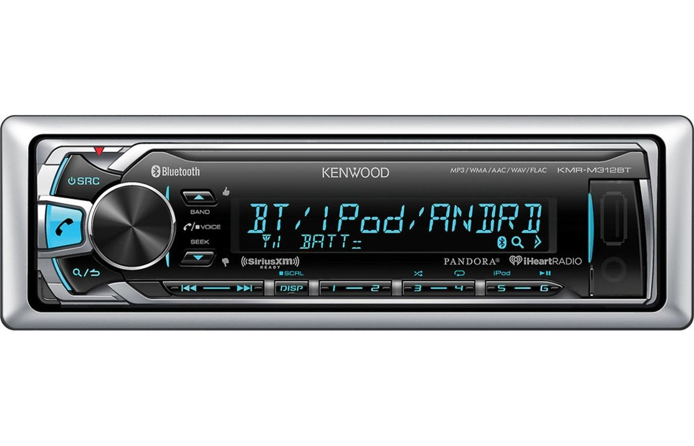 Kenwood Marine Receiver with Built in Bluetooth & Variable Color Illumination and Conformal-Coated PCB Circuit Board & Covered USB and AUX Inputs