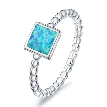 New Handmade Platinum Plated 925 Sterling Silver Created Light Blue Fire Opal Square Ring