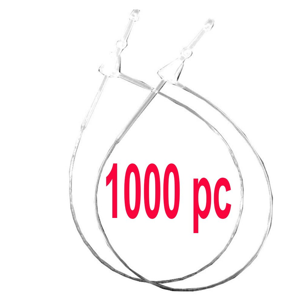 """1000pcs 5"""" 130mm Clear Plastic Secur-a-tach Price Tag Security Pins Loop Fastener, Paddle Snap Lock Pins T-end Fastener Hanger String for Garments"""