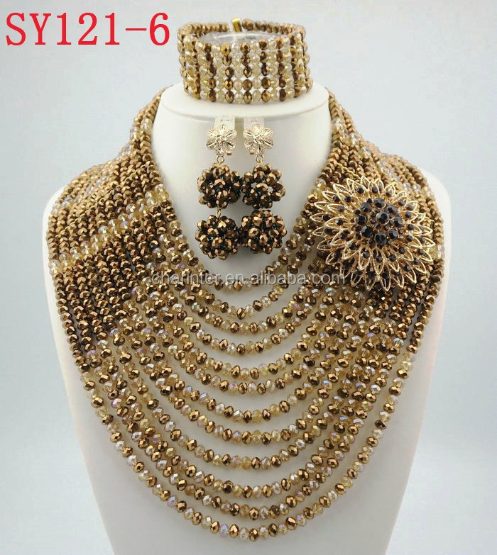 Latest Design Nigeria Bridal Beads Jewelry Sets African Custom ...