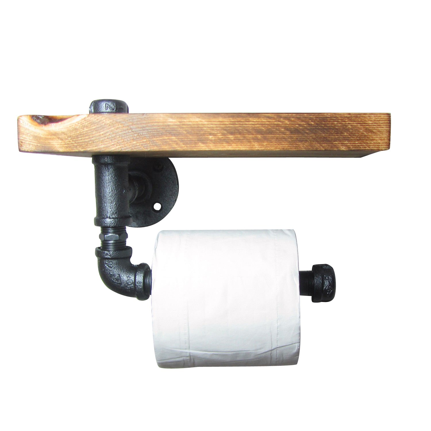 IMQOQ Vintage Industrial Style Metal Pipe Wood Shelf Toilet Paper Holder Roller