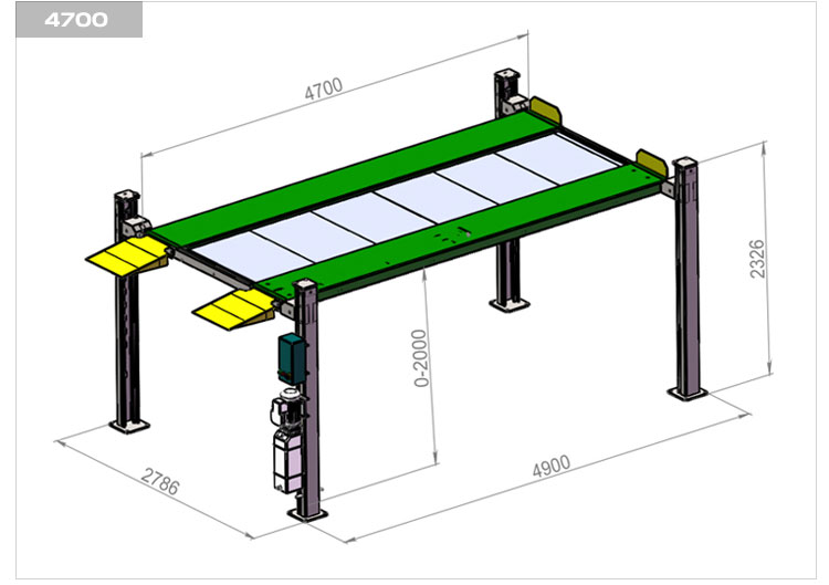 Hydraulic carport two level parking lift 4 post parking car hoist double parking car lift
