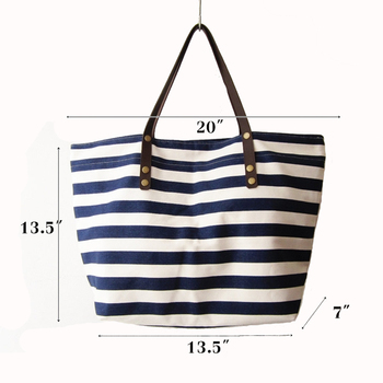 Navy Stripes Canvas Tote Bag Leather Handles Beach Bags Product On Alibaba
