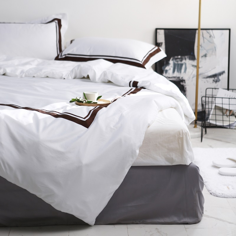 Luxury Queen Size 100% Cotton Solid Color Beddings Home Textile