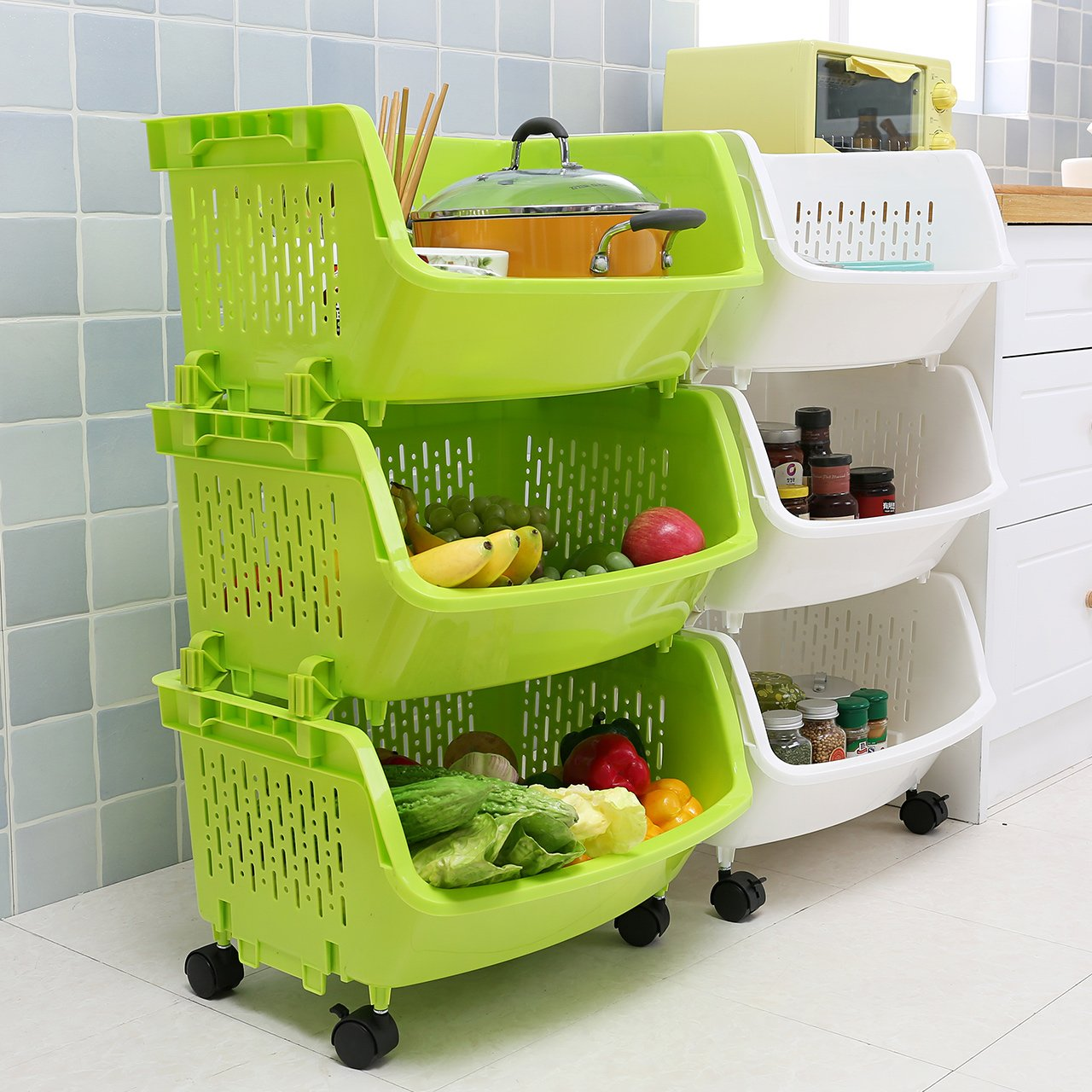 AJ Storage Stacking Bins, Household Kitchen Plastic Stackable Vertical Storage Organizational Bins Vegetable Fruit Food Storage Basket Rack Organizer AJ9001 (3, Green)