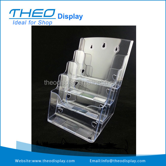 Clear A5 4 Tiers Pamphlet Display Holder Racks Stand
