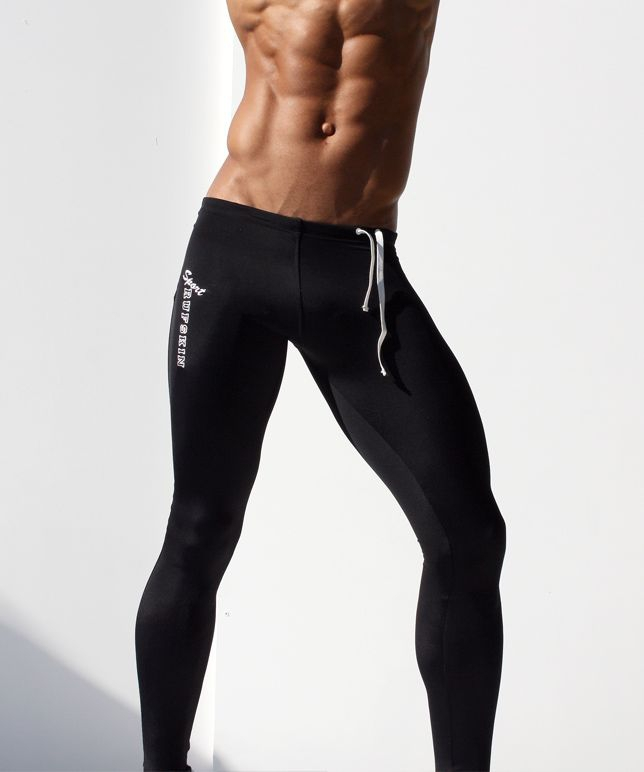 6cedc5526aa78 Sexy AQUX Men's Workout Tights Elastic Gym Sports Running Pants Full Leg ~ Ultra  Thin Fabric, Great for Summer!