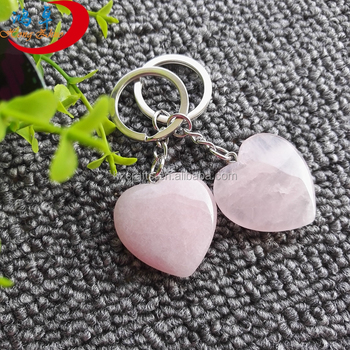 Natural gemstone hearts keychains Semi-precious Stone Keyrings