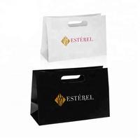 White Custom Printed Shopping Carry Reinforced Die Cut Handle Paper Bag With Logo