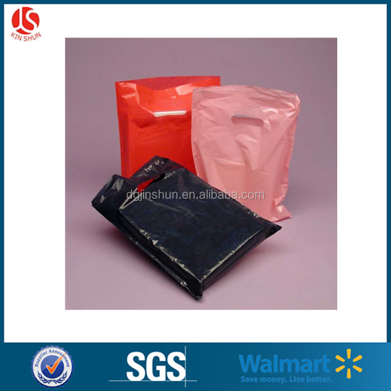 Cheap Cute Clothing Packing Merchandise Bags Low Density Plastic Merchandise Gift Die Cut Bags