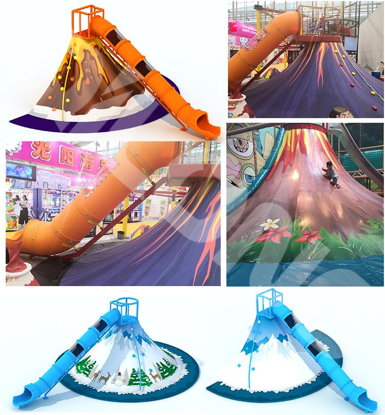 Indoor Playground Volcano/Snow Rock Climbing Slides
