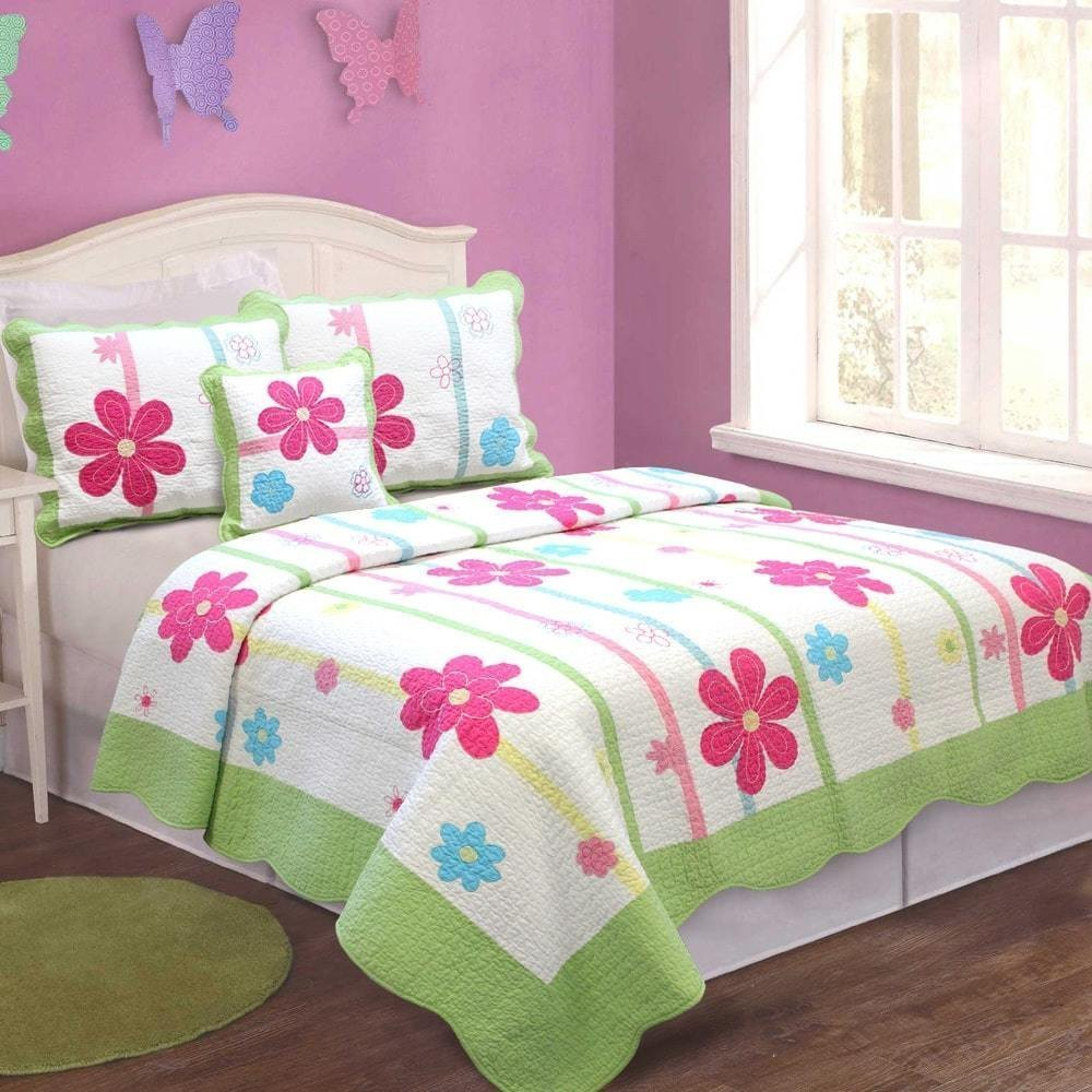 MISC 2pc Green Kids Flower Patchwork Twin Quilt, Daisy Summer Bright Pink Spring Fling, Red White Blue Floral Pattern, Cotton, Girls Vibrantly Appliqued Flowers