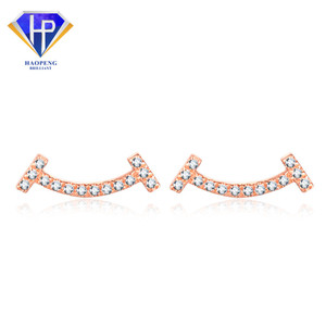 AT0049 Factory Sell Female Smile Face 18K Solid AU750 Rose Gold Diamond Earrings Jewerly