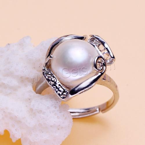other shape Rhinestone Zinc Alloy Finger Ring natural with Freshwater Pearl platinum color can be adjustable